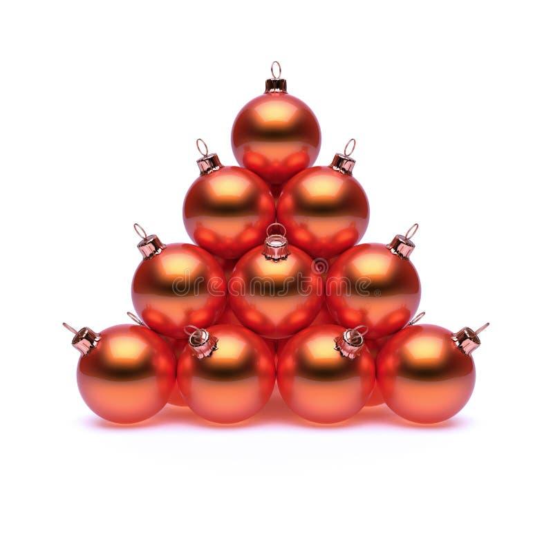Metallico rosso dorato arancio brillante della piramide della palla di Natale illustrazione di stock
