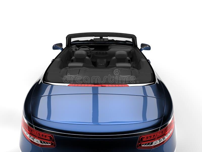 Metallische blaue moderne konvertierbare Motor- hintere Luxusansicht schnitt Schuss lizenzfreie abbildung
