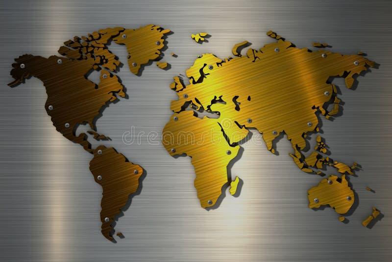 metallische Farbe der Weltkarte der Wiedergabe 3d Gold lizenzfreie abbildung