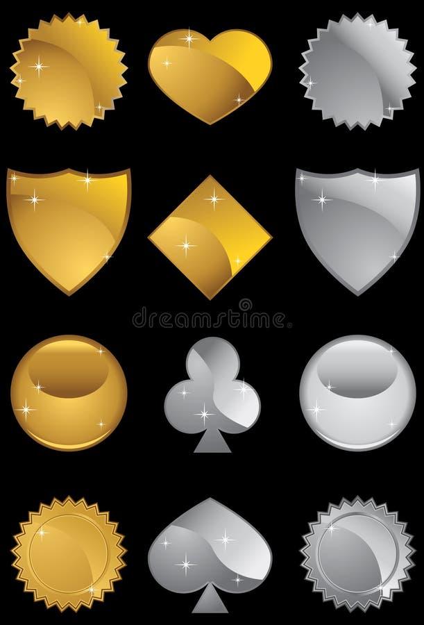 Metallische Formen eingestellt vektor abbildung