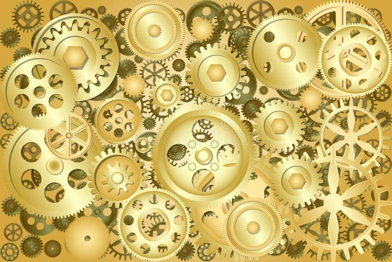 Metallische Gangräder als industrieller, technischer oder steampunk Hintergrund vektor abbildung
