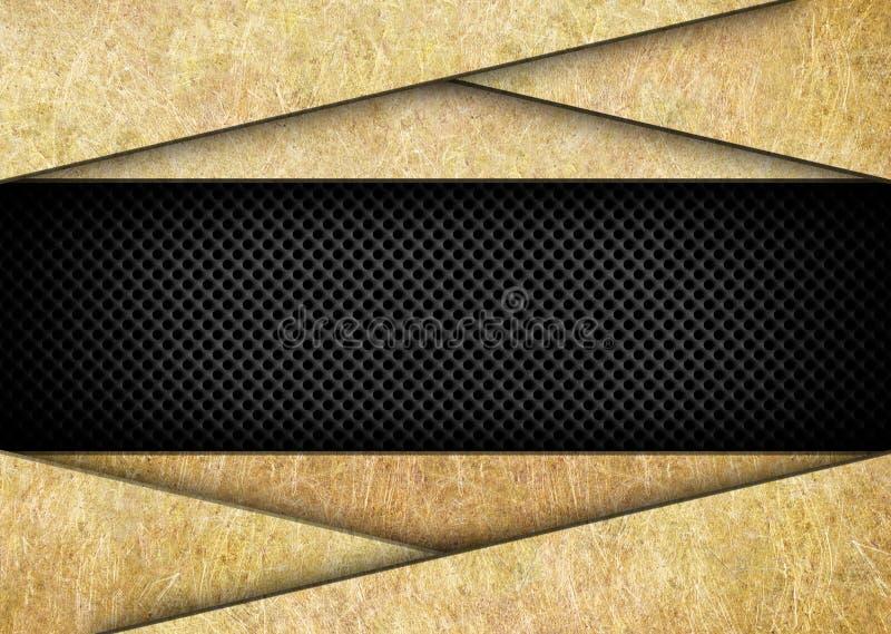 Metallische Hintergrundgoldfarbe mit schwarzer Masche stock abbildung