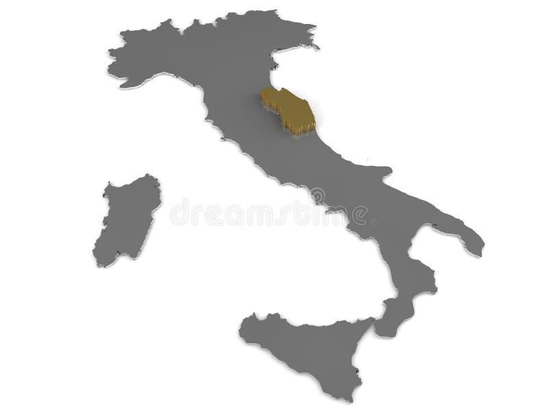 Metallische Karte Italiens 3d, whith Marken-Region hervorgehoben lizenzfreie abbildung