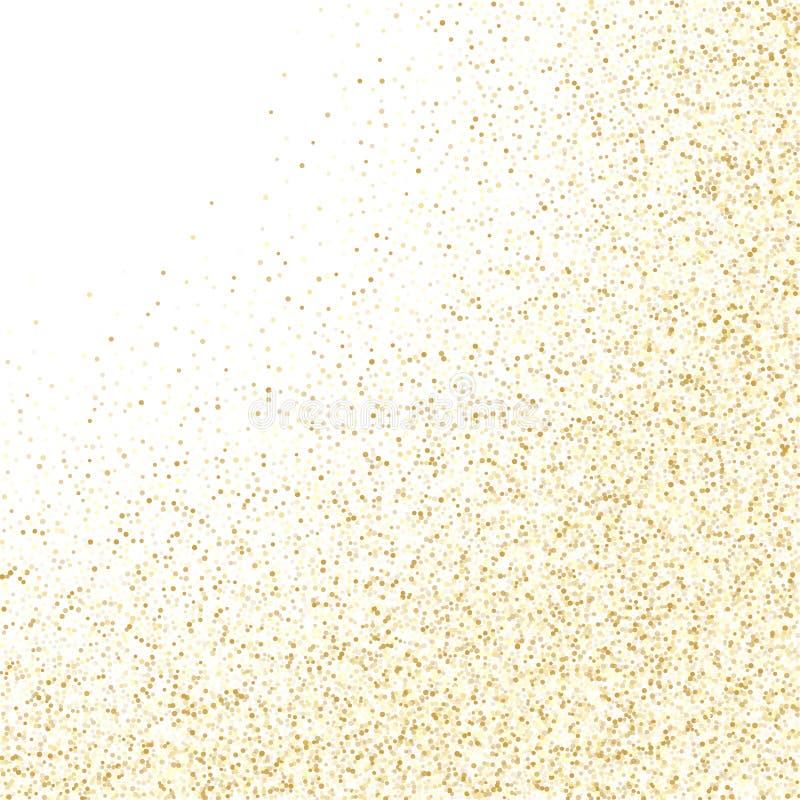 Metallische Konfettis des Goldscheinfunkeln-Staubes auf wei?em Vektorhintergrund vektor abbildung