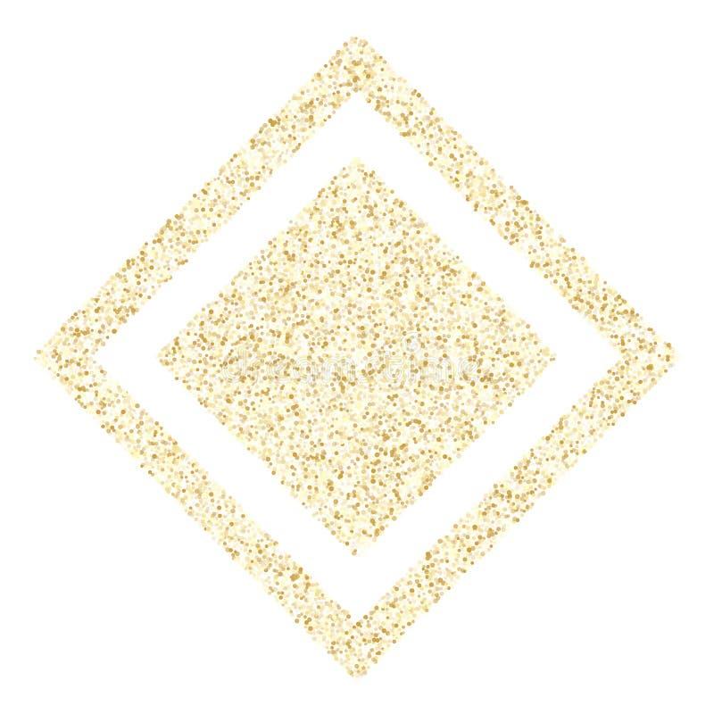 Metallische Konfettis des Goldscheinfunkeln-Staubes vector Rahmengrenzhintergrund lizenzfreie abbildung