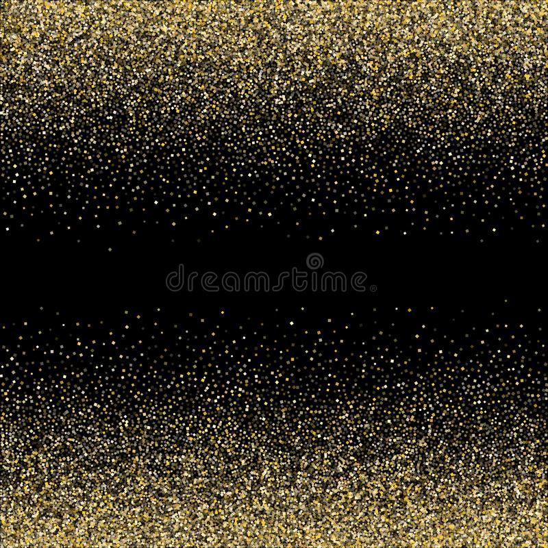 Metallische Konfettis des Goldscheinfunkeln-Staubes vector Rahmengrenzhintergrund vektor abbildung