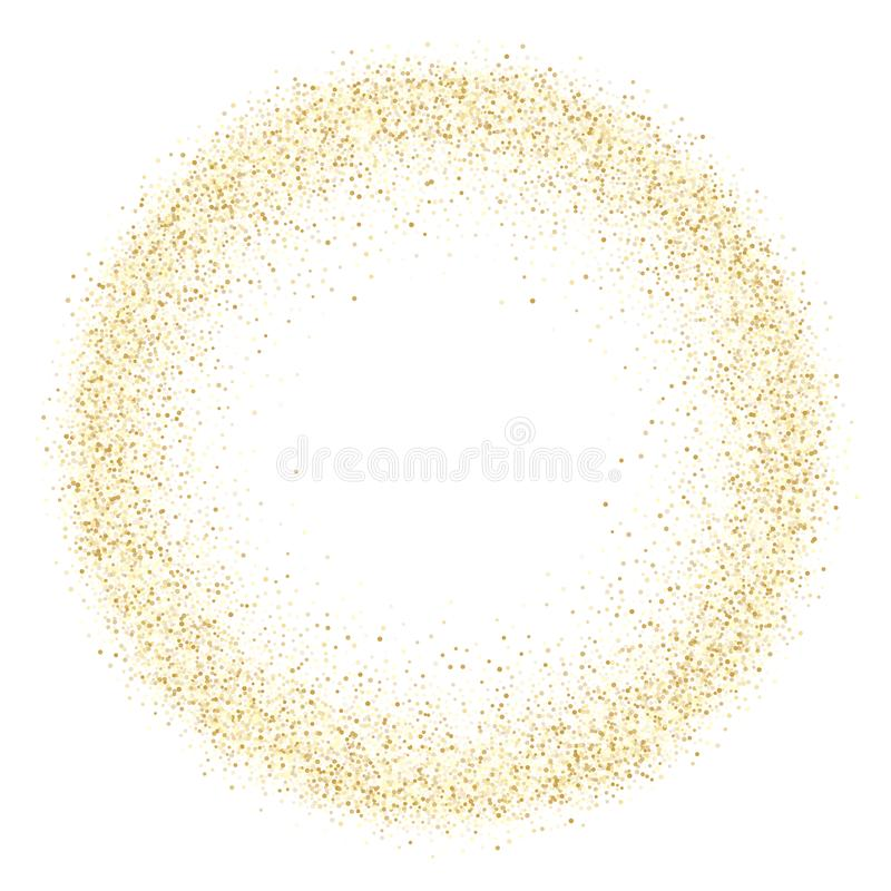 Metallische Konfettis des Goldscheinfunkeln-Staubes vector Rahmengrenzhintergrund stock abbildung