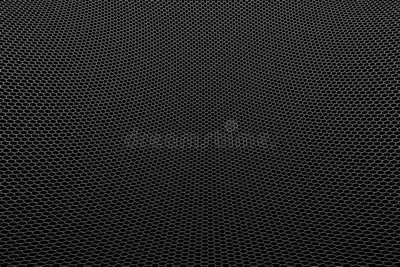 Metallische Masche der Kurve auf schwarzem Hintergrund stock abbildung