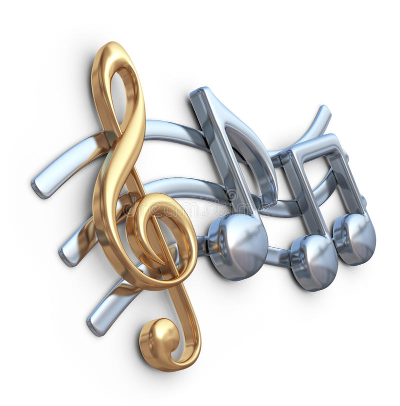Metallische Musikanmerkung 3D Musikkomposition vektor abbildung