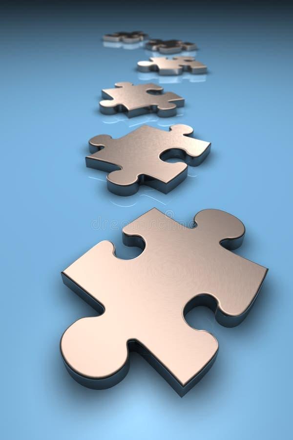Metallische Puzzlespielstücke stock abbildung