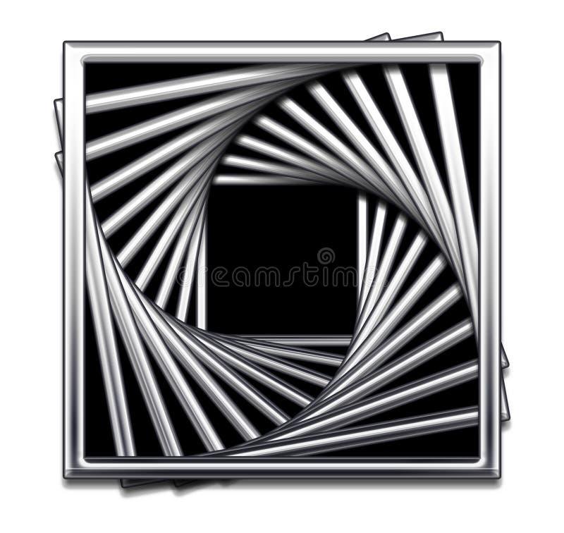 Metallische quadratische abstrakte Auslegung in Schwarzweiss lizenzfreie abbildung