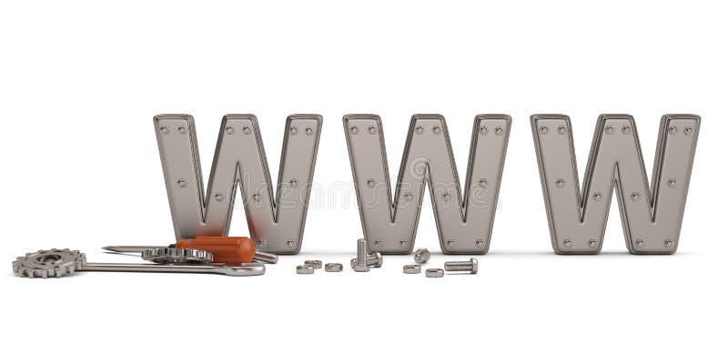 Metallische Schrauben und Bolzen Internet-Reparaturschlüssel-WWW illustr 3d vektor abbildung