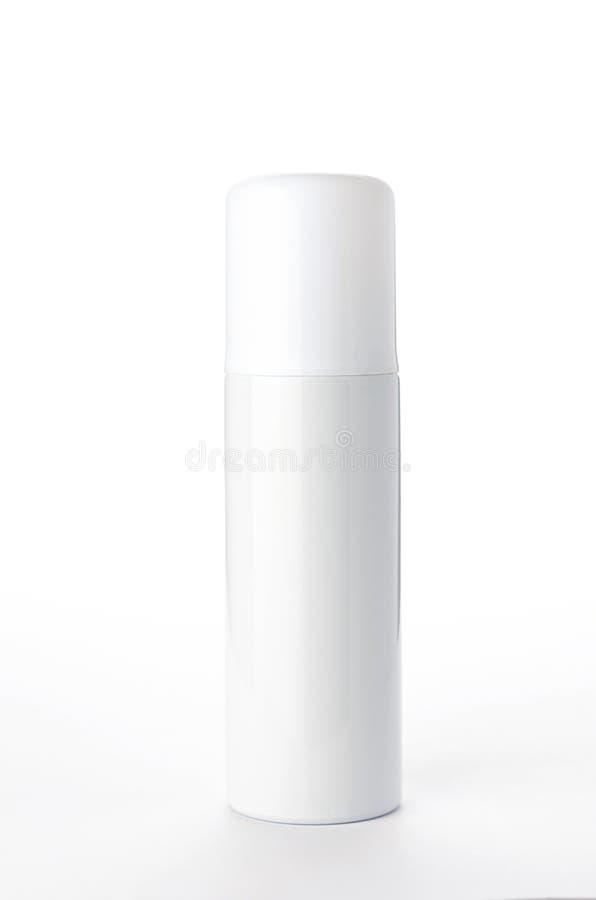 Metallische Sprühflasche auf dem weißen Hintergrund lizenzfreies stockbild