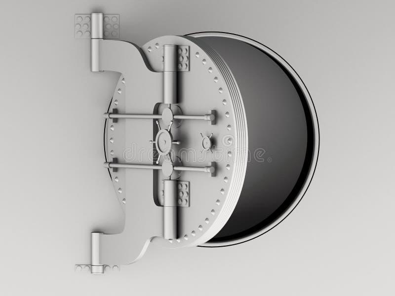 metallische Tür des Banktresors 3d offen stock abbildung