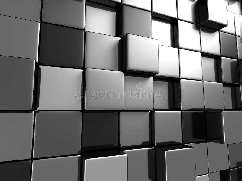 Metallische Würfel-abstrakter Tapeten-Hintergrund stock abbildung