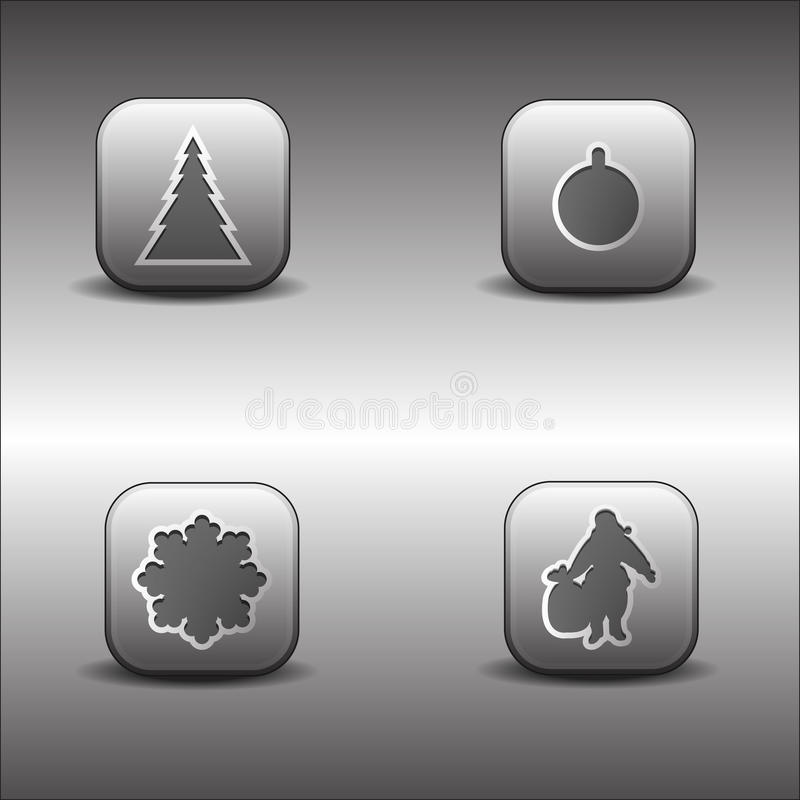 Metallische Weihnachtsikonen lizenzfreie abbildung