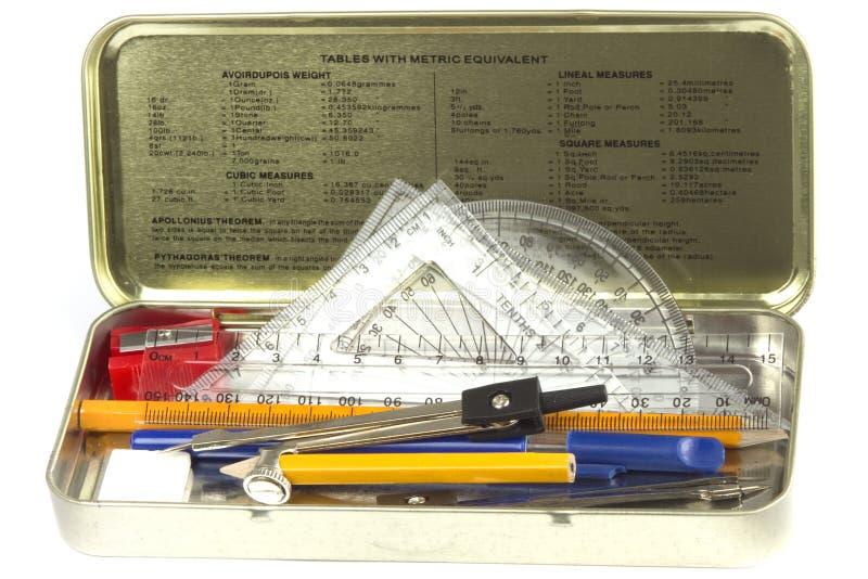 Metallischer Bleistiftkasten lizenzfreies stockbild