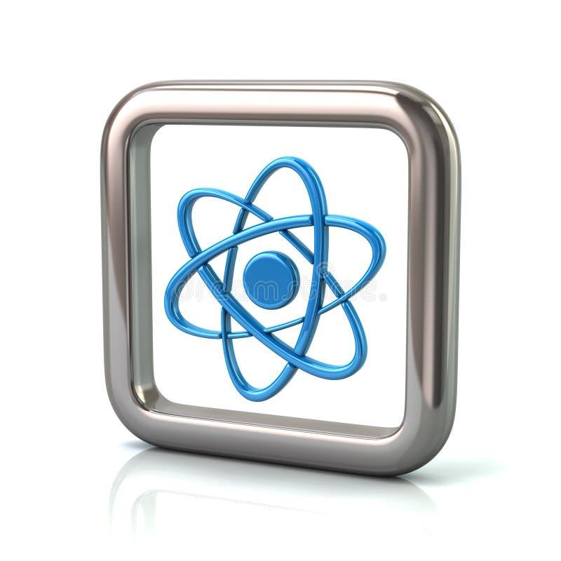 Metallischer gerundeter quadratischer Rahmen mit blauer Atomikone stock abbildung