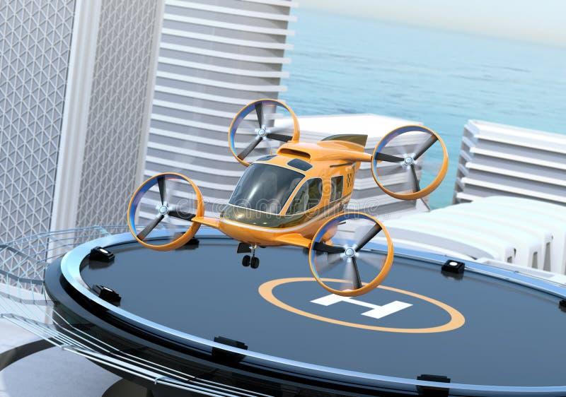 Metallischer grauer Passagier-Brummen-Taxistart vom Hubschrauber-Landeplatz auf dem Dach eines Wolkenkratzers lizenzfreie abbildung