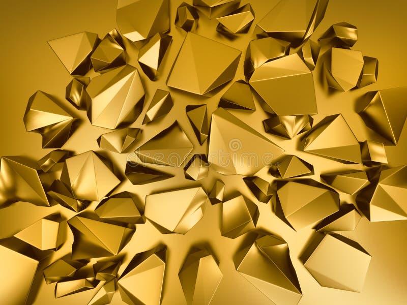 Metallischer Kristallhintergrund des abstraktes Gold 3d vektor abbildung