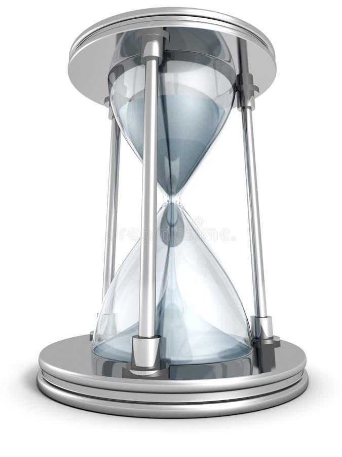 Metallischer Sand Hourglass auf weißem Hintergrund vektor abbildung