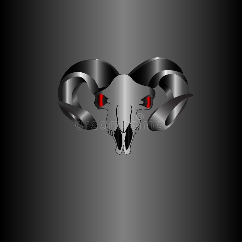 Metallischer silberner Schädel-Büffel lizenzfreie stockfotos