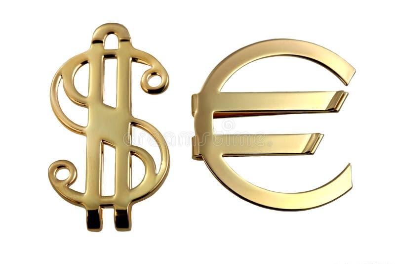 Metallischer Zeicheneuro und -dollar stockfotografie