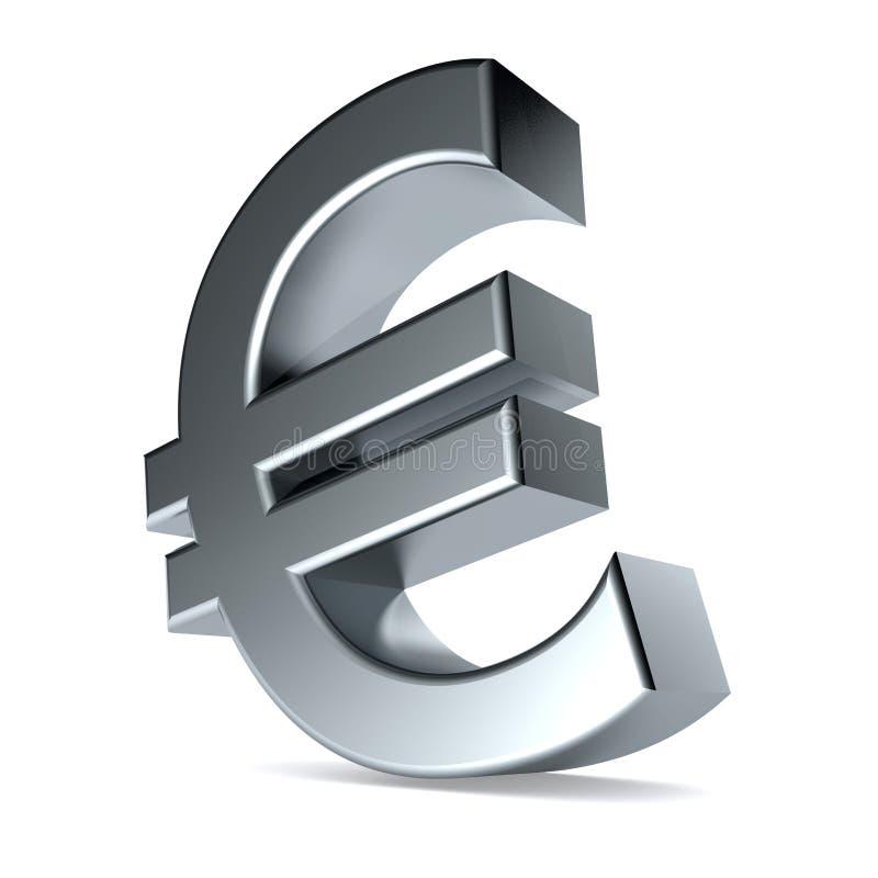 metallisches Eurosymbol 3d vektor abbildung
