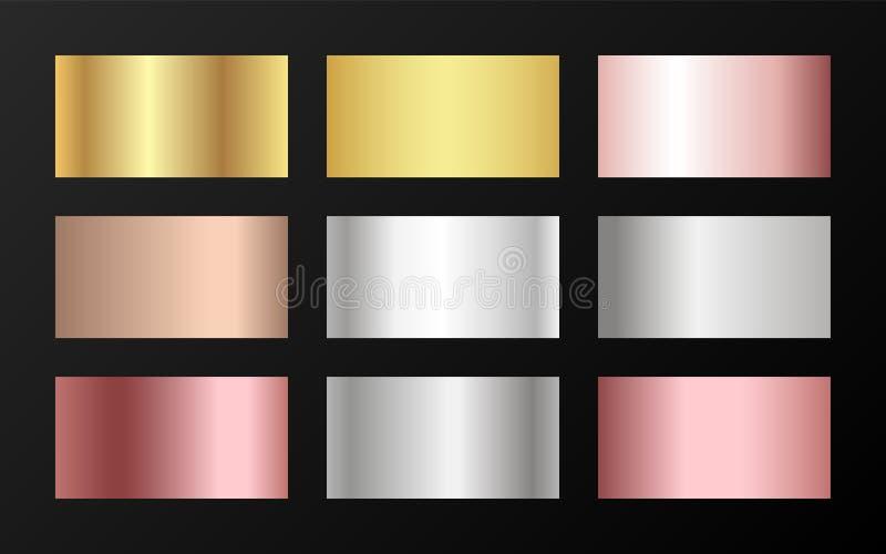 Metallisches Folienbeschaffenheitssilber, Stahl, Chrom, Platin, Kupfer, Bronze, Aluminium, rosafarbene Goldsteigungsmuster vektor abbildung