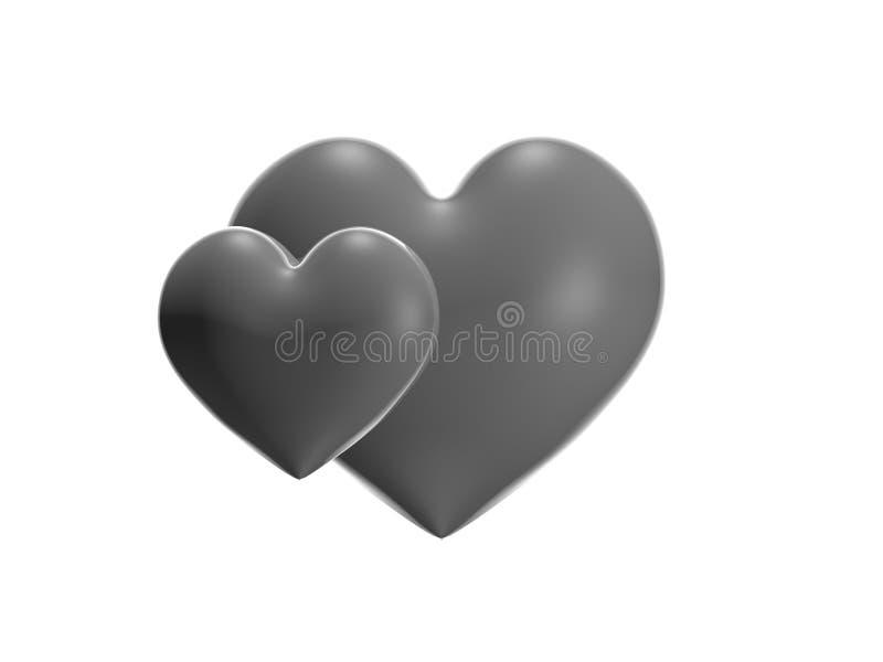 Metallisches Herz 3D übertragen - lokalisiert stockfotografie