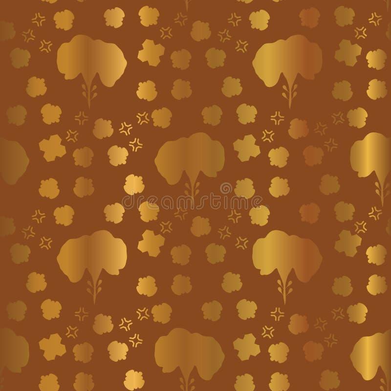Metallisches kupfernes Goldblumenmuster-nahtloser Vektor, gezeichnete Folien-Formen vektor abbildung