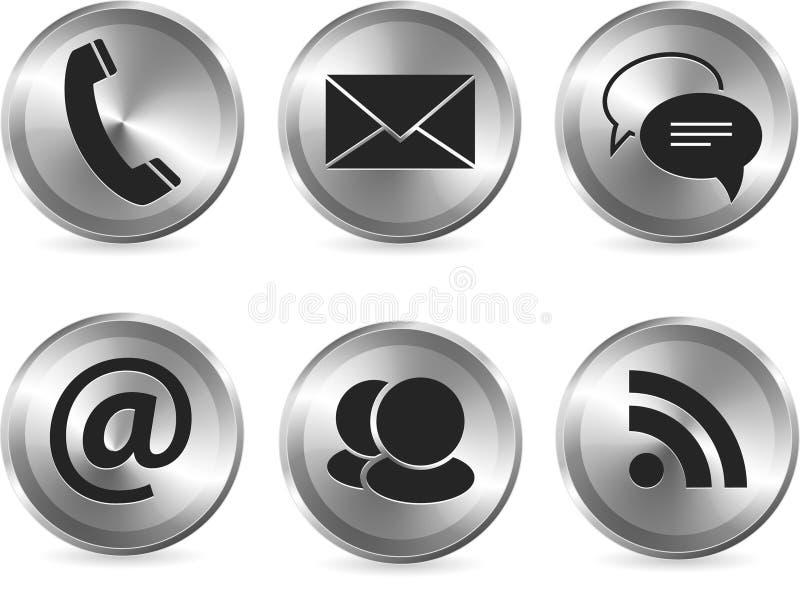 Metallisches stilvolles modernes Kommunikationsikonenset lizenzfreie abbildung