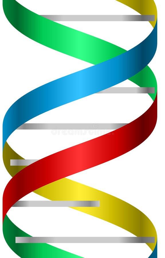 Metallisches und buntes DNA-Stranglogo-Ikonenbild stock abbildung