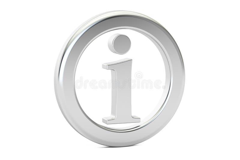 Metallisches Zeichen der Informationen, Symbol Wiedergabe 3d lizenzfreie abbildung