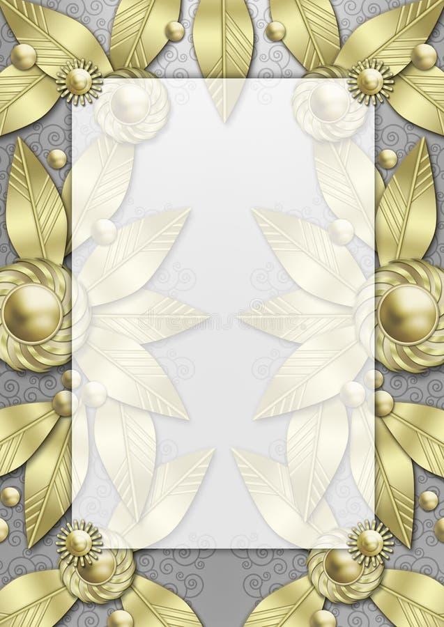 metallisk art décoramleaf vektor illustrationer