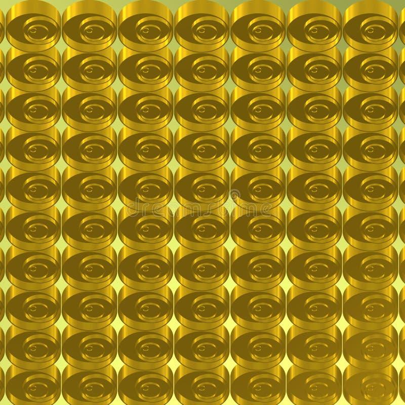 Metallisk bakgrund med guld- serie av koncentriska cirklar royaltyfri fotografi