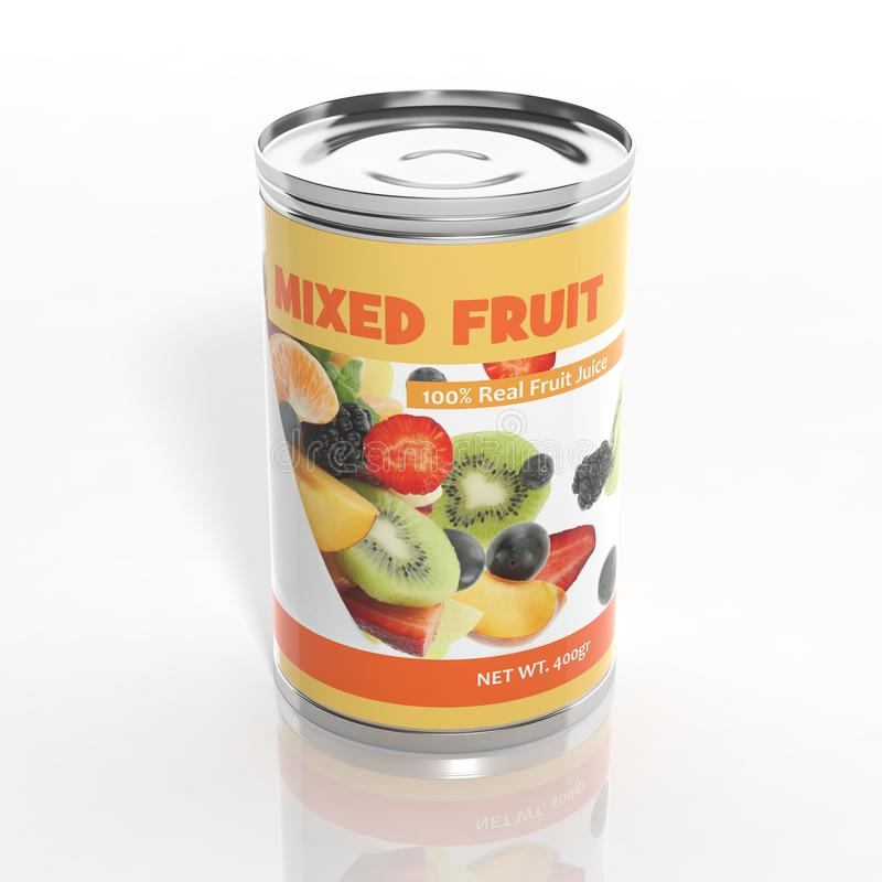 metallisk can för blandad frukt 3D stock illustrationer