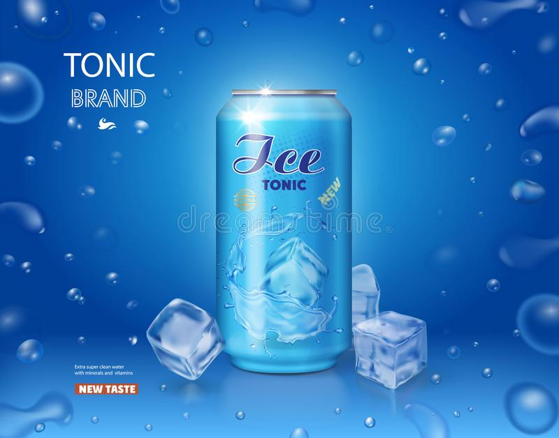 Metallisk can med den stärkande läsk- och iskuben på blå bakgrund vektor illustrationer