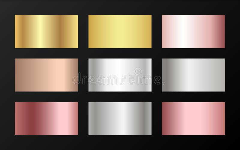 Metallisk folietextursilver, stål, krom, platina, koppar, brons, aluminium, steg guld- lutningprovkartor vektor illustrationer