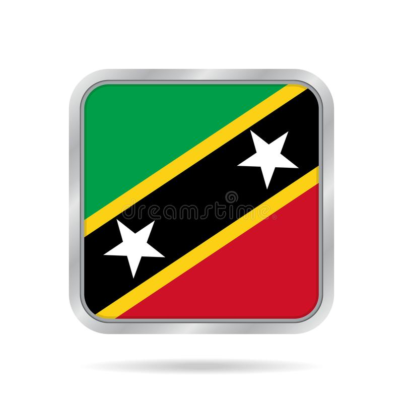Metallisk fyrkantig flagga av helgonet Kitts och Nevis vektor illustrationer