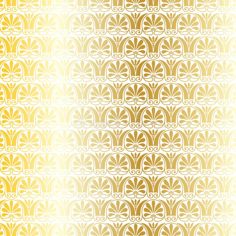 Metallisk grekisk dekorativ vektormodell för guld och för vit royaltyfri illustrationer