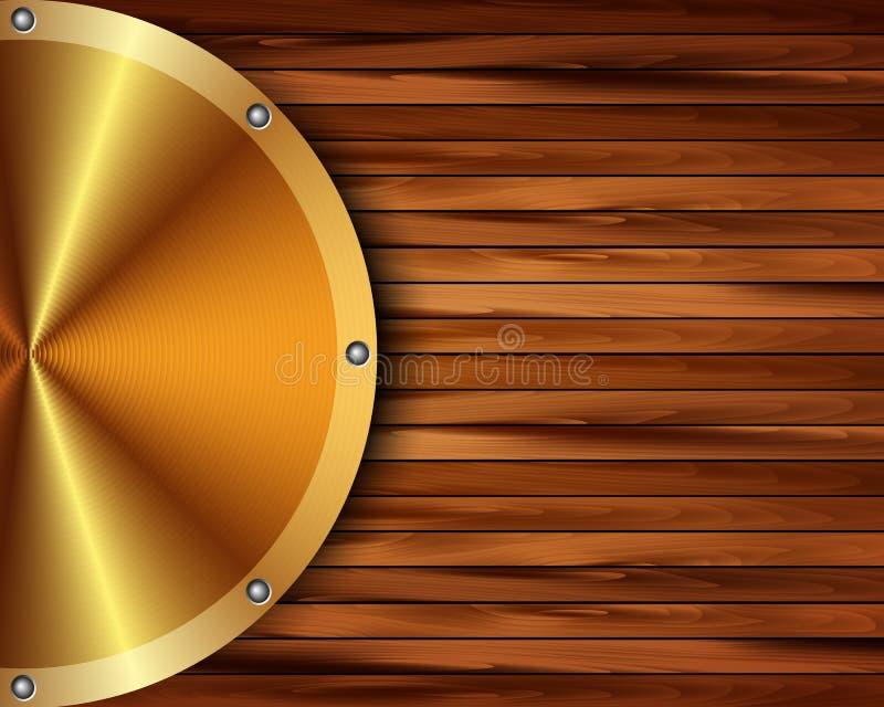 Metallisk guld- ram på en träbakgrund 17 vektor illustrationer