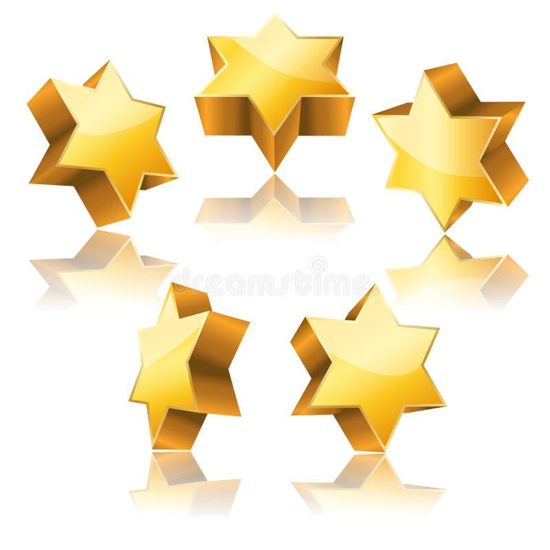 Metallisk guld- stjärna 3d av David royaltyfri illustrationer