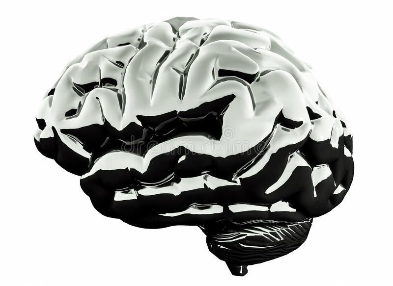 metallisk hjärna för krom 3D på vit bakgrund illustration 3d royaltyfri illustrationer