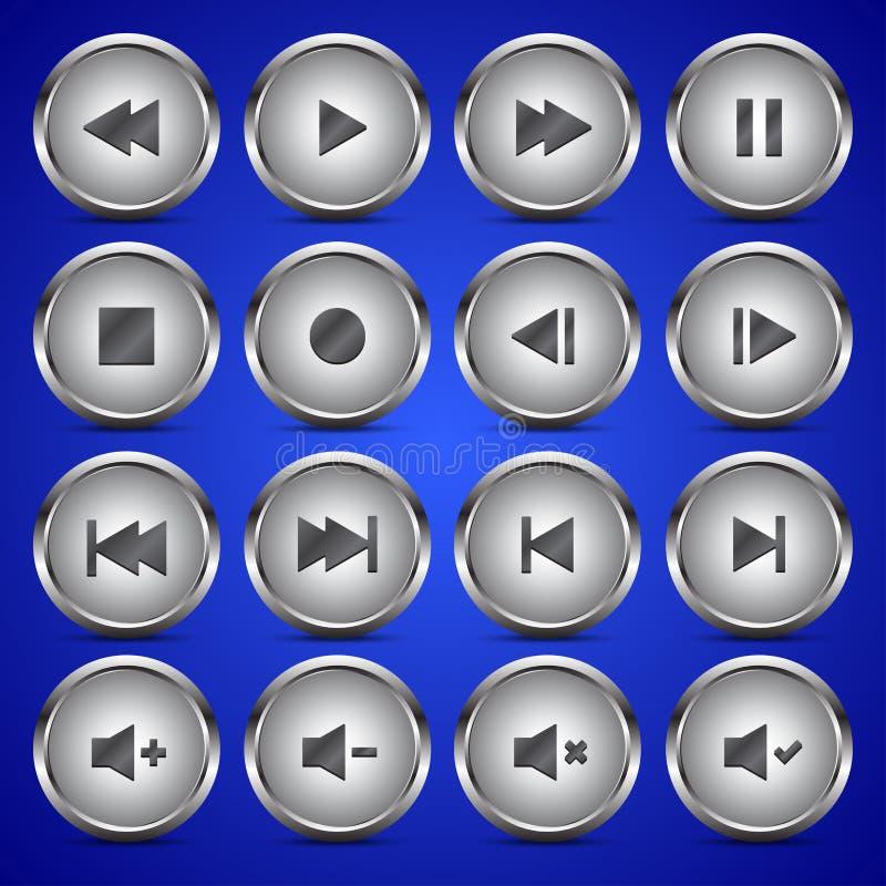 Metallisk knapp för cirkel för symbol för massmediaspelare ljudsignal video royaltyfri illustrationer