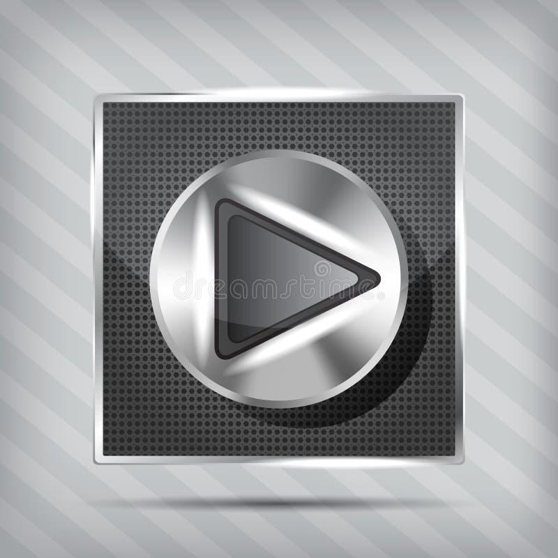 Metallisk knopp med spelrumsymbolen vektor illustrationer