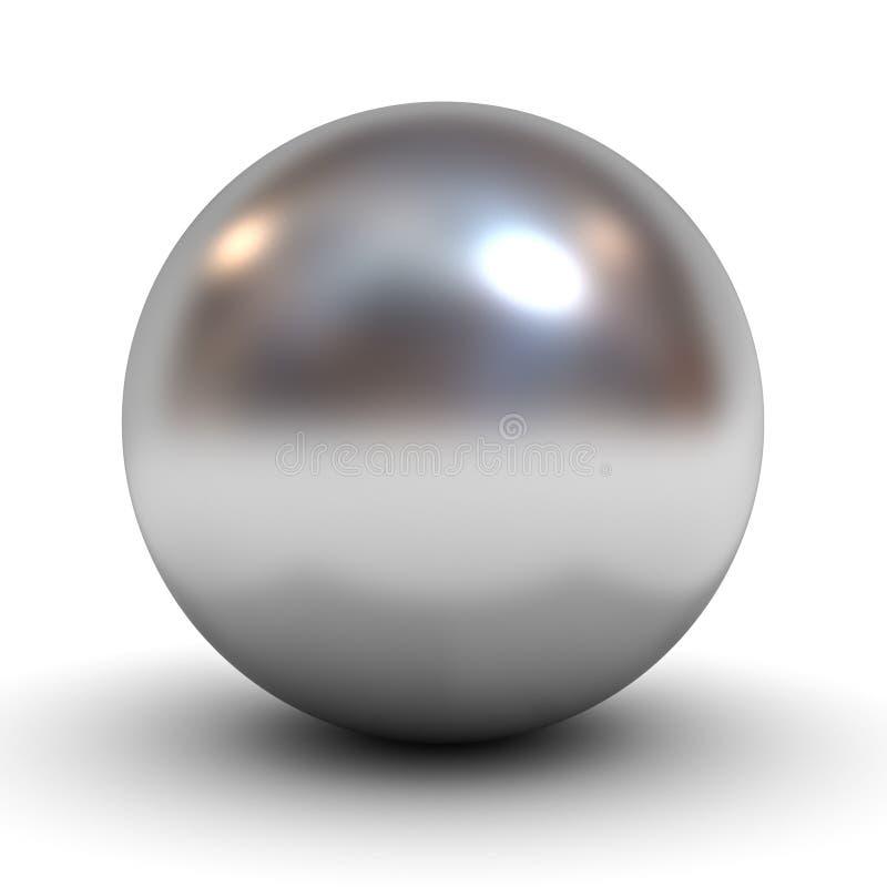 Metallisk kromsfär över vit vektor illustrationer