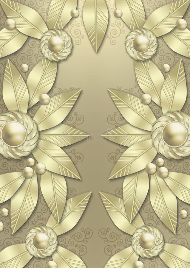 metallisk leaf för konstbakgrundsdeco royaltyfri illustrationer