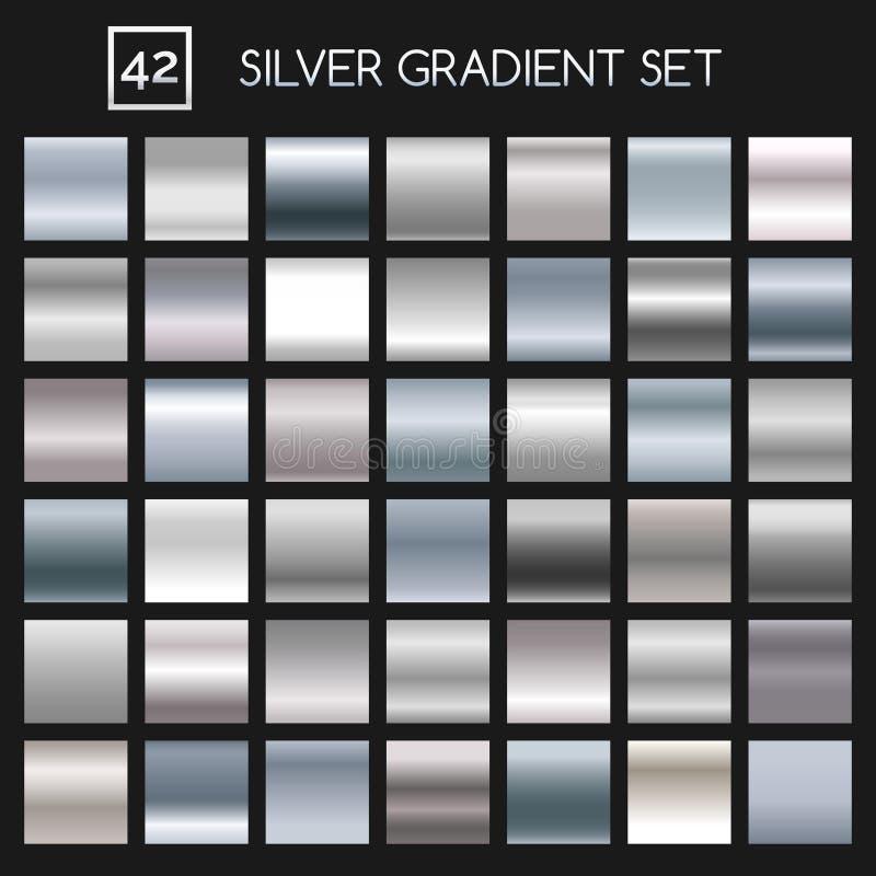Metallisk lutninguppsättning för silver vektor illustrationer