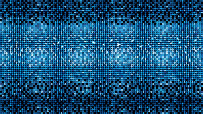 Metallisk mosaik för blått vektorneon med fläckljus stock illustrationer